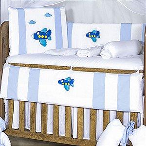 Kit Berço Airplane Azul Bebê 11 Peças