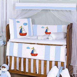 Kit Berço Barquinho Azul Bebê 10 Peças