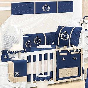 Kit Berço Feito A Mão Luxo Azul Marinho 9 Peças