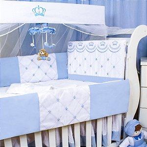Kit Berço Império Flor de Liz Azul Bebê 09 Peças