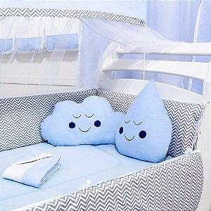 Kit Berço Nuvem e Gotinha Chevron Azul Bebê com Almofada Azul 10 Peças