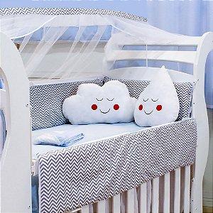 Kit Berço Nuvem E Gotinha Chevron Azul Bebê Com Almofada Branca