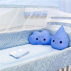 Kit Berço Nuvem E Gotinha Rafael Com Almofada Azul