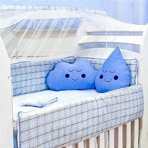 Kit Berço Nuvem e Gotinha Xadrez Azul com Almofada Azul 10 Peças