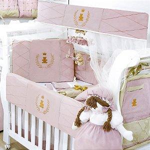 Kit Berço Realeza Luxo Rosê 9 Peças