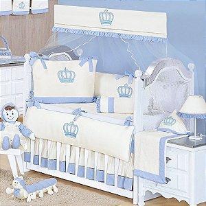 Kit Berço Realeza New Azul Bebê 09 Peças