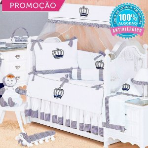 Kit Berço Realeza New Azul Marinho 10 Peças