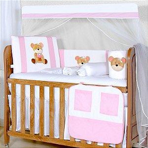Kit Berço Ursa Cupcake Rosa 11 Peças