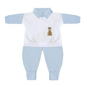 Conjunto Realeza Azul Bebê E Branco