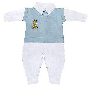 Conjunto Realeza Branco E Azul Bebê