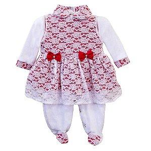 Macacão Para Bebê Manga Longa Eloá Vermelho