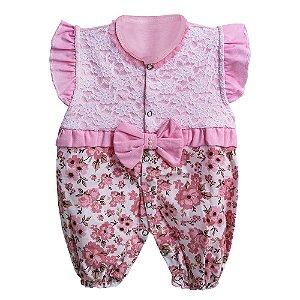 Macacão Para Bebê Gatinha Floral