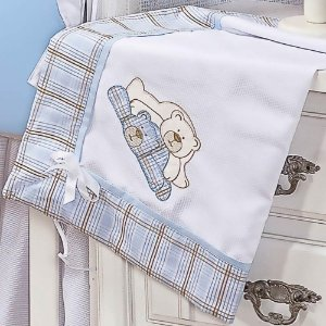 Manta Piquet Amiguxos Azul Bebê