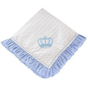 Manta Enxoval Piquet Realeza New Azul Bebê