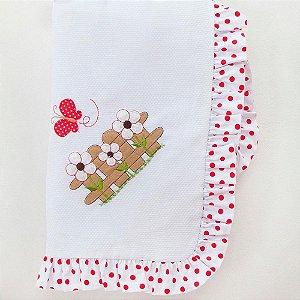 Manta Piquet Ursa Butterfly Vermelha
