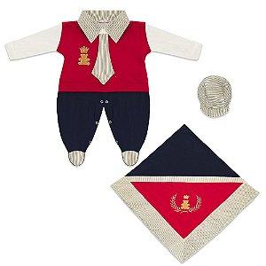 Saída Maternidade Império Vermelho 3 Peças