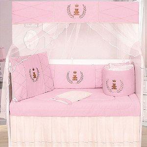 Kit Berço Realeza Luxo Rosa 9 Peças