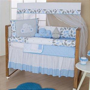Kit Berço Nuvem Azul Bebê 10 Peças