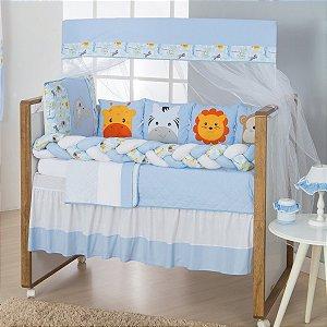 Kit Berço Trança Savana Azul Bebê 11 Peças