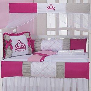Kit Berço Princesa Pink 9 Peças