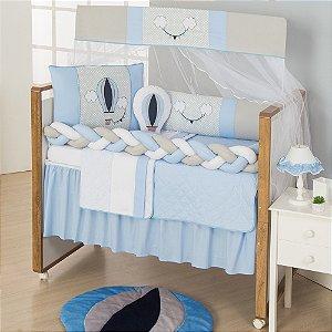 Kit Berço Trança Balão Azul Bebê 10 Peças