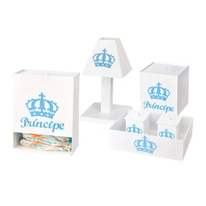 Kit Higiene Imperial Príncipe Azul Bebê MDF