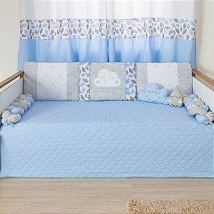 Kit Cama Babá Trança Nuvem Azul Bebê