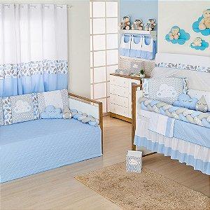 Quarto sem Cama Babá Trança Nuvem Azul Bebê