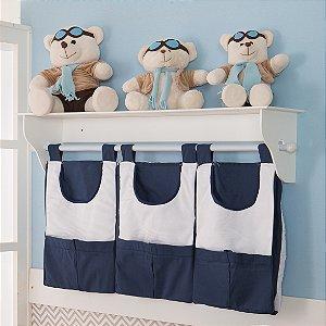 Porta Fraldas de Parede Nuvem Azul Marinho