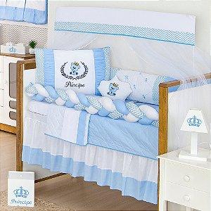 Kit Berço Trança Príncipe Urso Azul Bebê 10 Peças