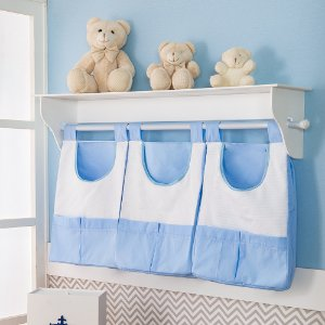 Porta Fraldas de Parede Príncipe Urso Azul Bebê