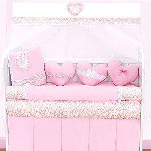 Kit Berço Coração Rosa 10 Peças