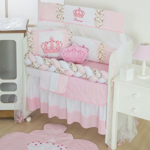 Kit Mini Berço Trança Imperial Princesa Rosa