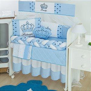 Kit Mini Berço Trança Imperial Príncipe Azul Bebê