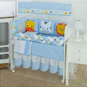 Kit Mini Berço Trança Savana Azul Bebê
