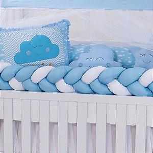 Kit Berço Trança Star Nuvem Azul Bebê