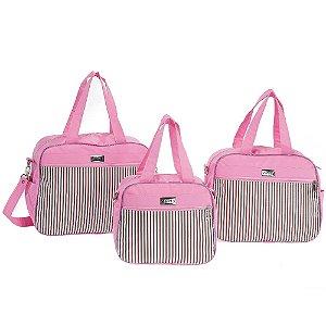 Conjunto de Bolsas Pimpom Rosa 3 Peças