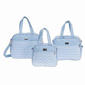 Conjunto de Bolsas Zig Zag Azul Bebê 3 Peças