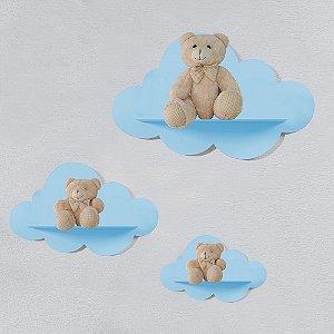 Trio de Prateleiras Nuvem Azul MDF