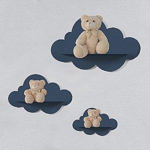 Trio de Prateleiras Nuvem Azul Marinho MDF