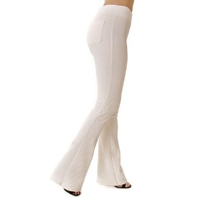 CALÇA FLARE PIQUET OFF WHITE