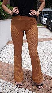 Calça Flare Piquet Caramelo
