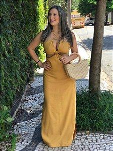 Vestido Longo de Linho Mostarda Jack