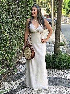 Vestido Longo de Linho Cru Camila