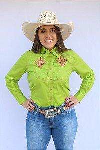 Camisa Feminina Country Bordada com Strass  Verde Limão