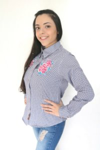 Camisa Feminina Country Xadrez Bordada