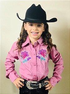 Camisa Country Infantil Rosê