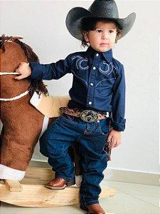 Camisa Country Infantil Bordada Azul Marinho