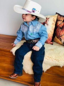 Camisa Country Infantil Paisley Azul Claro