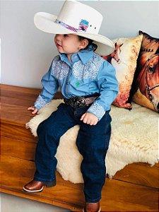 Camisa Country Infantil Paisley Azul Claro